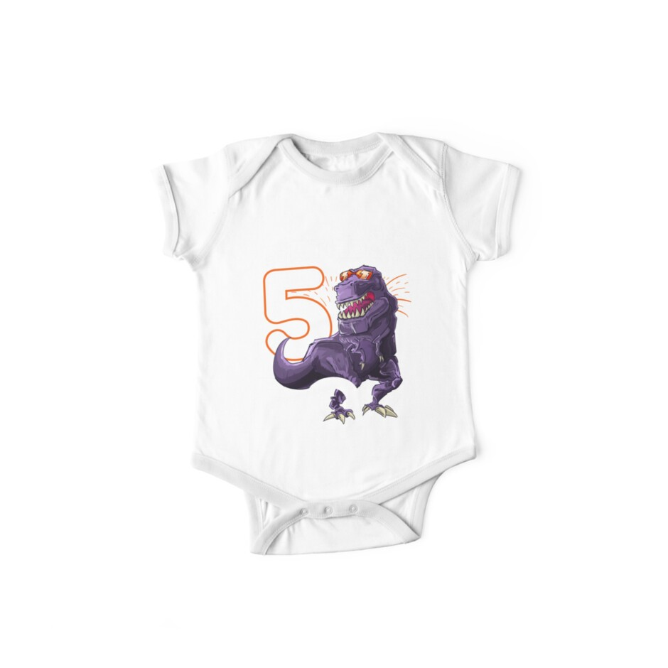 Funny T Rex Birthday Boy 5 Dinosaur Kids 5th Shirt