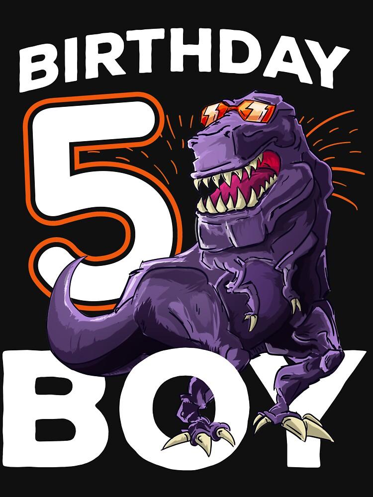 Funny T Rex Birthday Boy 5 Dinosaur Kids 5th Shirt By Iceteeselling