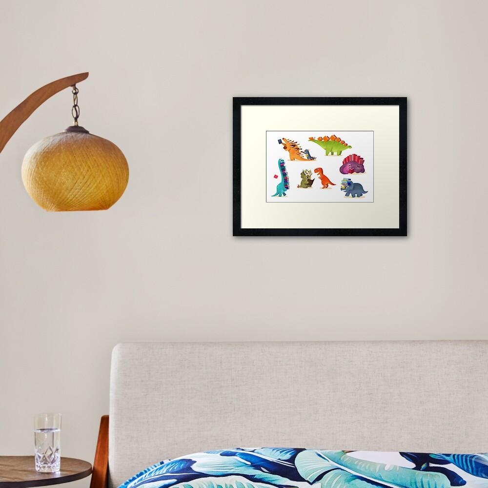 BOOK DINOSAURS Framed Art Print