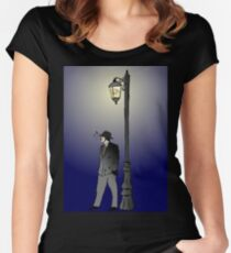 Detective under street lamp Women's Fitted Scoop T-Shirt