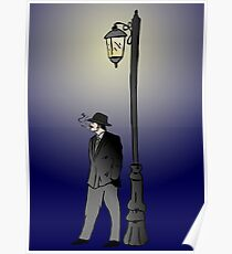 Detective under street lamp Poster