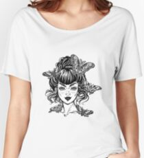 Woman portrait with vintage bun hair made in style, pretty girl with moth and butterfly. Women's Relaxed Fit T-Shirt