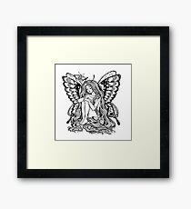 Young girl butterfly with long wavy hair falling to the ground. Nude modest moth. Princess of the forest.  Framed Print