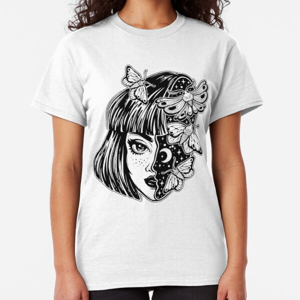 Portrait of the magic surreal witch girl with a head as night sky full of moth butterflies. Classic T-Shirt