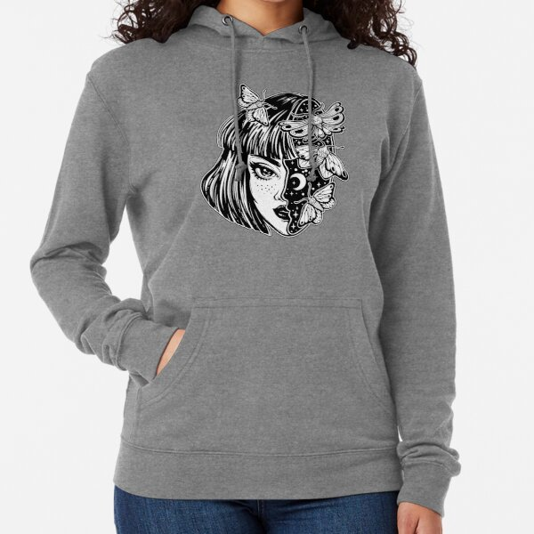 Portrait of the magic surreal witch girl with a head as night sky full of moth butterflies. Lightweight Hoodie