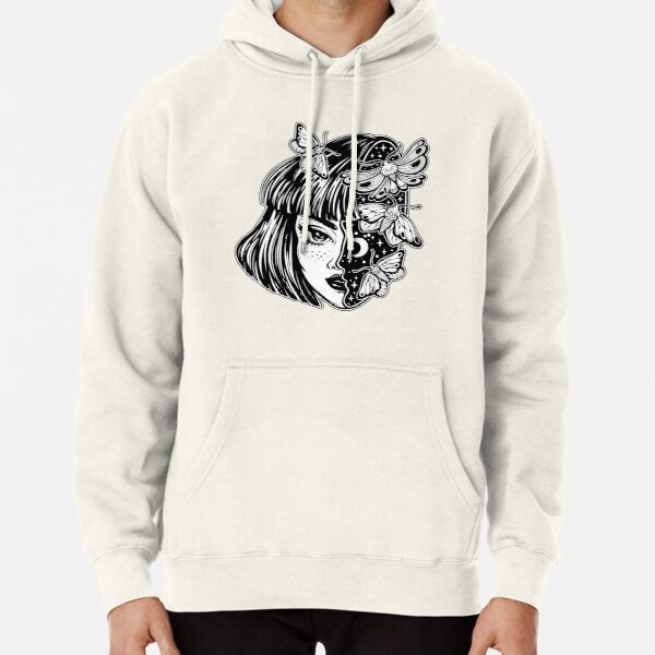 Portrait of the magic surreal witch girl with a head as night sky full of moth butterflies. Pullover Hoodie
