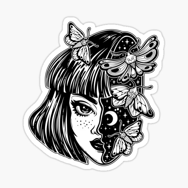 Portrait of the magic surreal witch girl with a head as night sky full of moth butterflies. Sticker