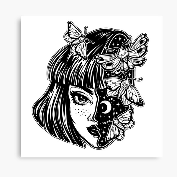 Portrait of the magic surreal witch girl with a head as night sky full of moth butterflies. Canvas Print
