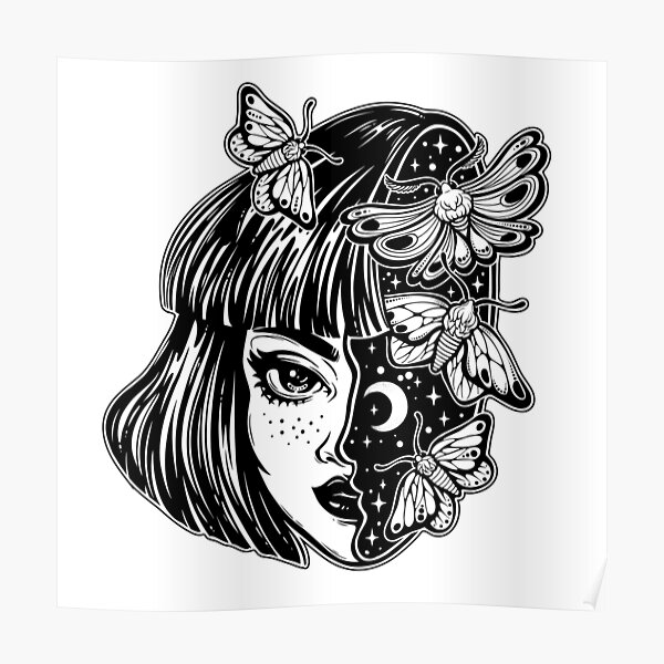 Portrait of the magic surreal witch girl with a head as night sky full of moth butterflies. Poster