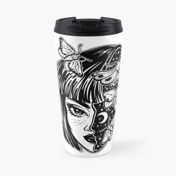 Portrait of the magic surreal witch girl with a head as night sky full of moth butterflies. Travel Mug