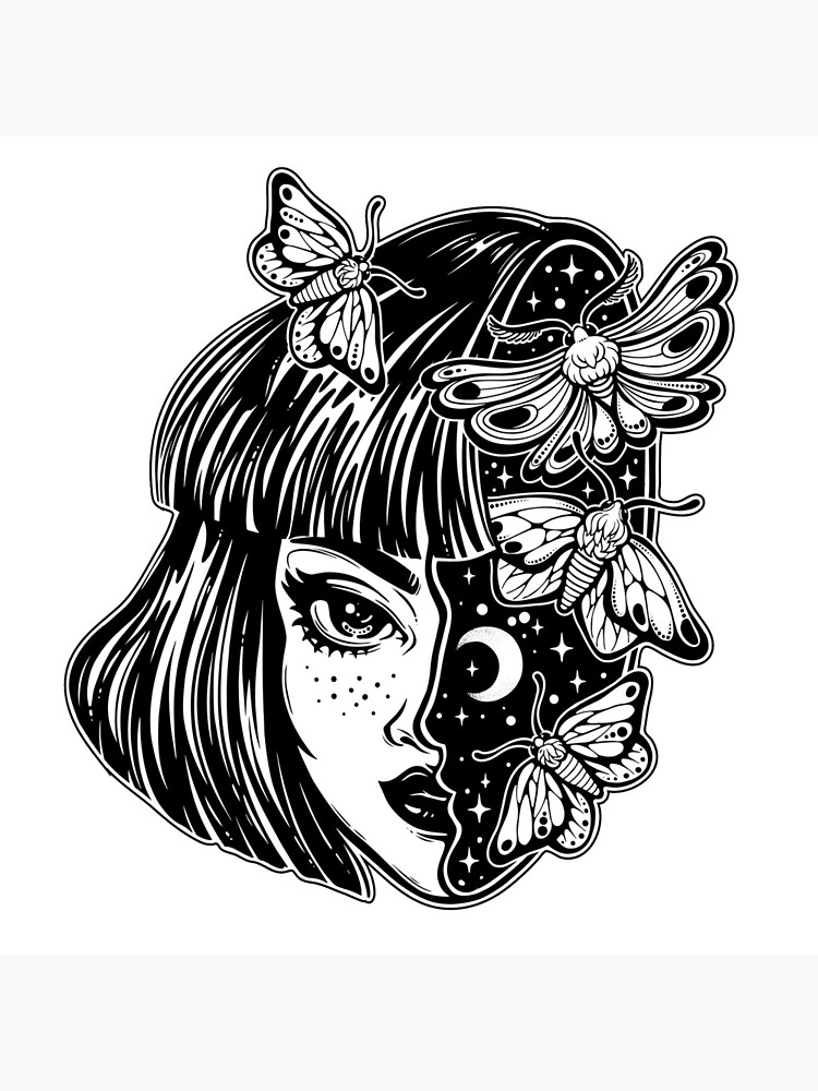 Portrait of the magic surreal witch girl with a head as night sky full of moth butterflies. by KatjaGerasimova