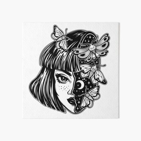 Portrait of the magic surreal witch girl with a head as night sky full of moth butterflies. Art Board Print
