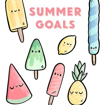 Summer Goals Fruits Icecream Cute Illustration by piratart