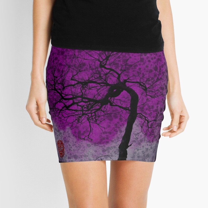 Cherry Tree Sky Mini Skirt