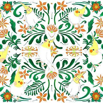 cockatiel flowers pattern by FandomizedRose