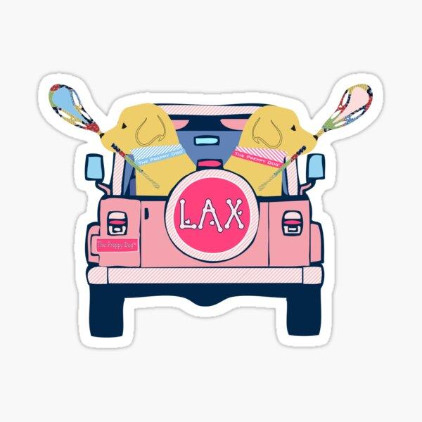 Preppy Pink LAX Jeep Golden Retriever Lacrosse Dogs Sticker