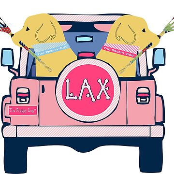 Preppy Pink LAX Jeep Golden Retriever Lacrosse Dogs by emrdesigns