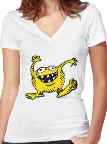 Cute Cartoon Yellow Monster by Cheerful Madness!! Women's Fitted V-Neck T-Shirt