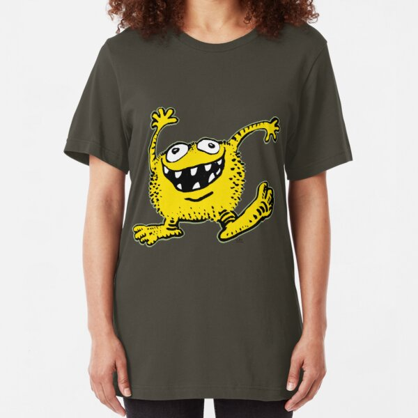 Cute Cartoon Yellow Monster by Cheerful Madness!! Slim Fit T-Shirt