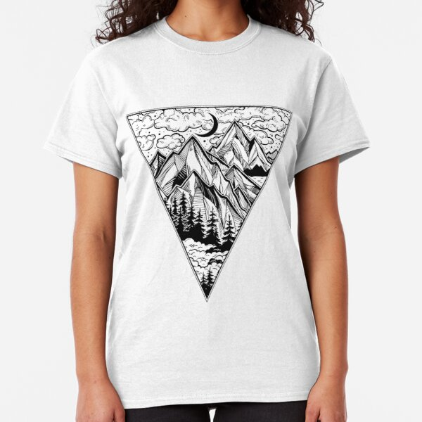 Triangle frame artwork with wilderness landscape scene with a lake, road, pine forest and mountains Classic T-Shirt