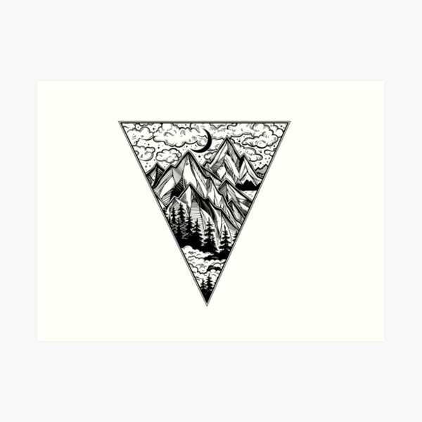 Triangle frame artwork with wilderness landscape scene with a lake, road, pine forest and mountains Art Print