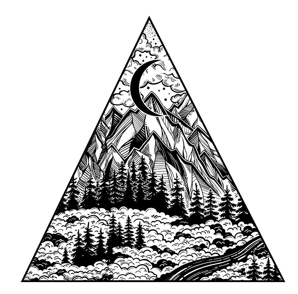 Triangle frame artwork with wilderness landscape scene with a lake ...