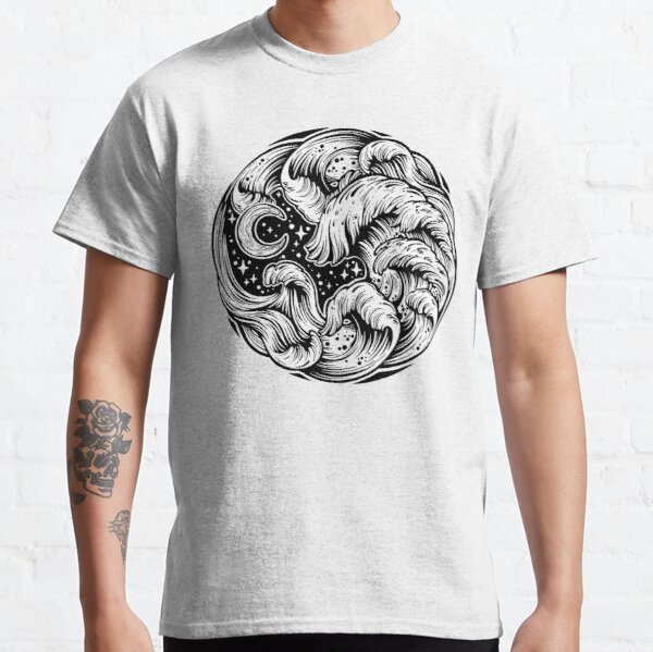 Hand drawn water waves in the sea line art drawing.  Classic T-Shirt