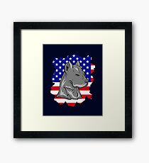 American Flag USA Pitbull 4th of July Independence Day Framed Print