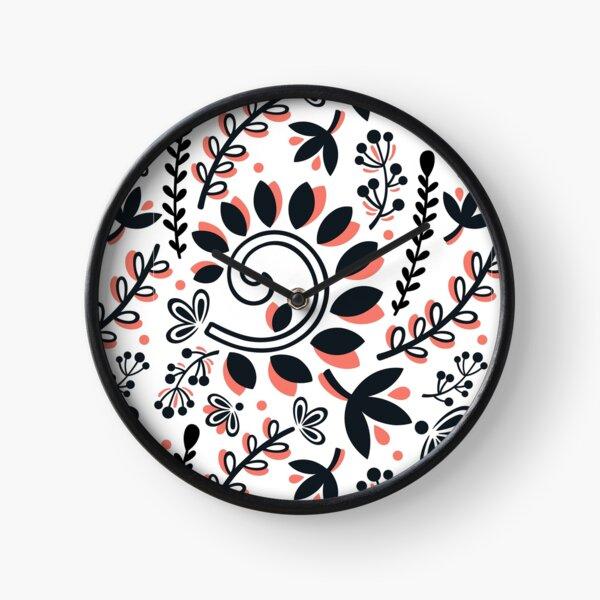 Vine and Leaf Motif Pattern (Black and Coral) Clock