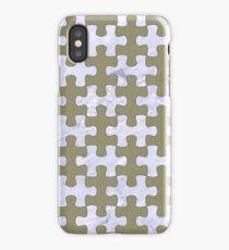 PUZZLE1 WHITE MARBLE & KHAKI FABRIC iPhone Case