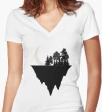 Moon and Mountain I Love Nature And Astrology  Women's Fitted V-Neck T-Shirt