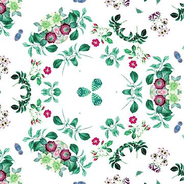 painting vintage backdrop ornament decorative nature plant green colorful orchids seamless repeat pattern by Abrahamjrnd