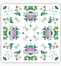 backdrop elegance fabric orchids green retro artwork seamless colorful repeat pattern Sticker