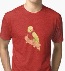 Orange and Green Coo Bird Tri-blend T-Shirt