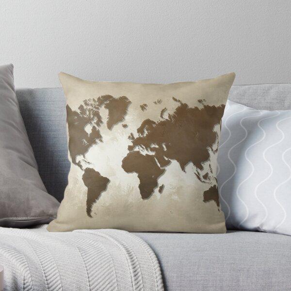 Design 64 Brown World Map Throw Pillow