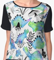 Pencil catosaurs and plants. Funny dino cats and mushrooms. Chiffon Top