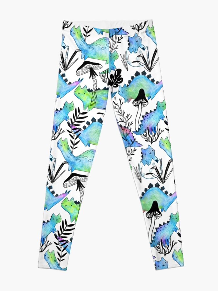 Alternate view of Pencil catosaurs and plants. Funny dino cats and mushrooms. Leggings