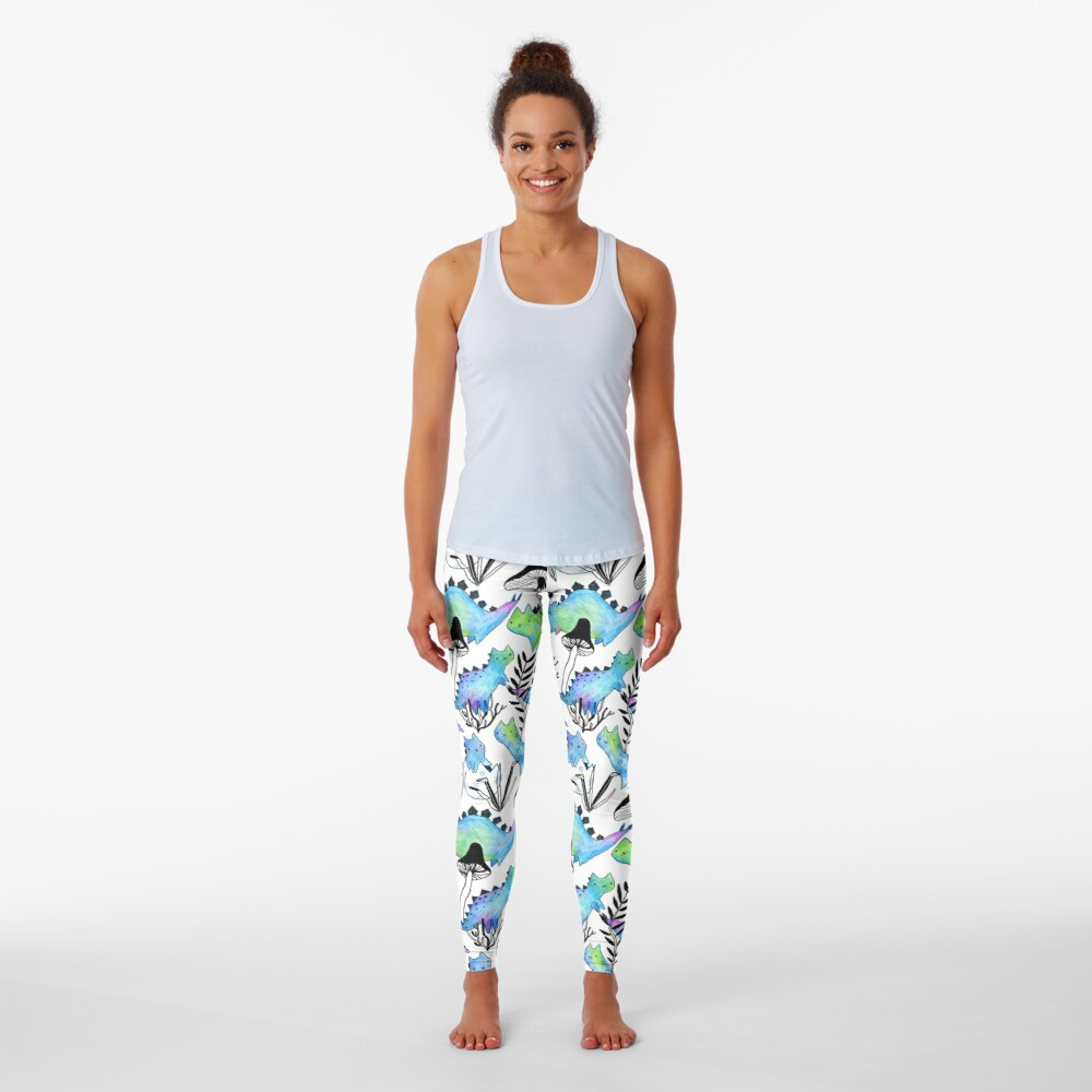 Pencil catosaurs and plants. Funny dino cats and mushrooms. Leggings
