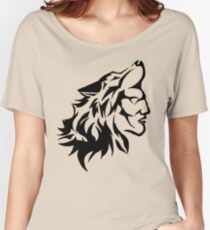 Native Warrior with Wolf Headdress Women's Relaxed Fit T-Shirt