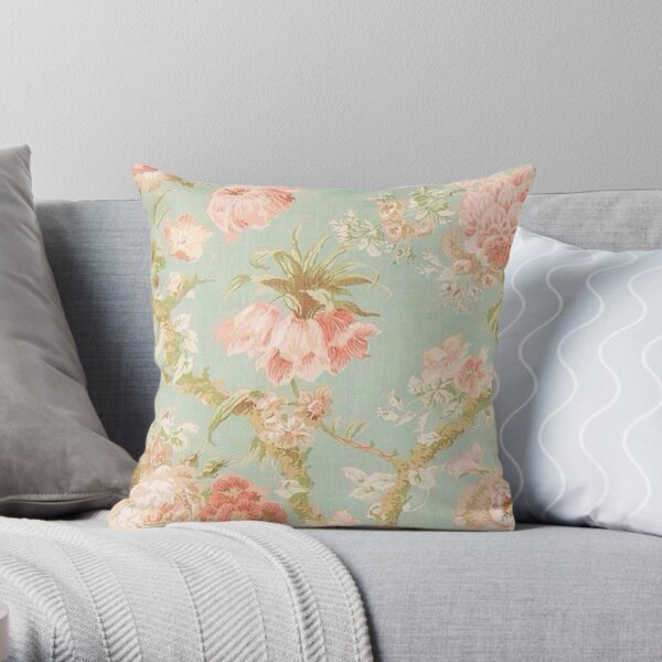 Shabby chic,floral,antiqued,pattern,mint,pink,off white,beige,rustic,chic,elegant, victorian,vintage,dark blue,old,wall paper,fabric,worn,old,modern,trendy Throw Pillow