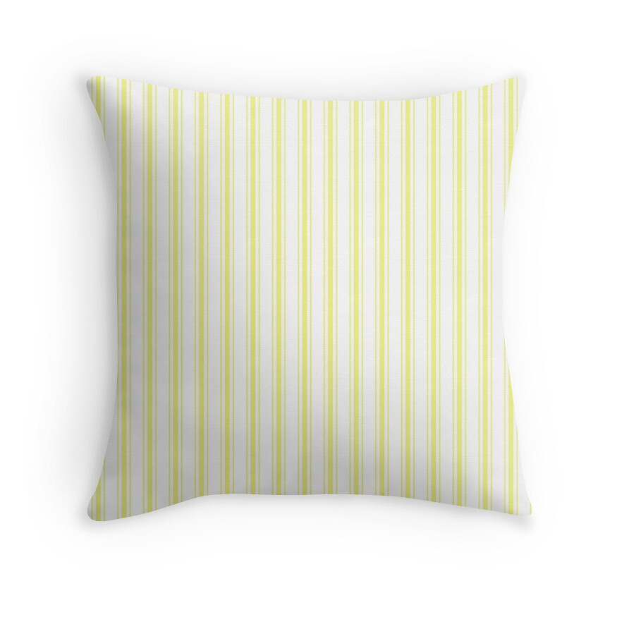 Pastel Limelight Yellow Mattress Ticking Wide Striped Pattern - Fall Fashion 2018