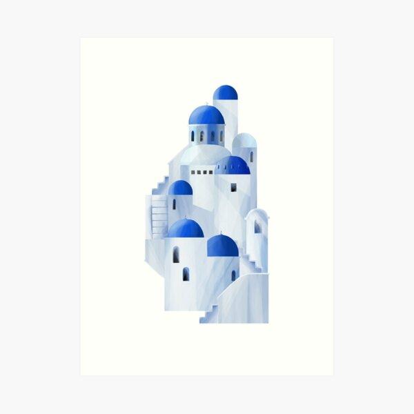 Isla de Santorini en Grecia Lámina artística