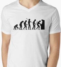 Human Evolution Until Arcade Games T Shirt, Geeky Design Men's V-Neck T-Shirt