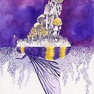 Ultraviolet Bumblebee / Mushroom Watercolor Painting by Stephanie KILGAST