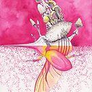 Pink Hercules Beetle / Mushroom Art | Watercolor Painting by Stephanie KILGAST