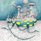 Beetle / Mushroom Watercolor Painting by Stephanie KILGAST