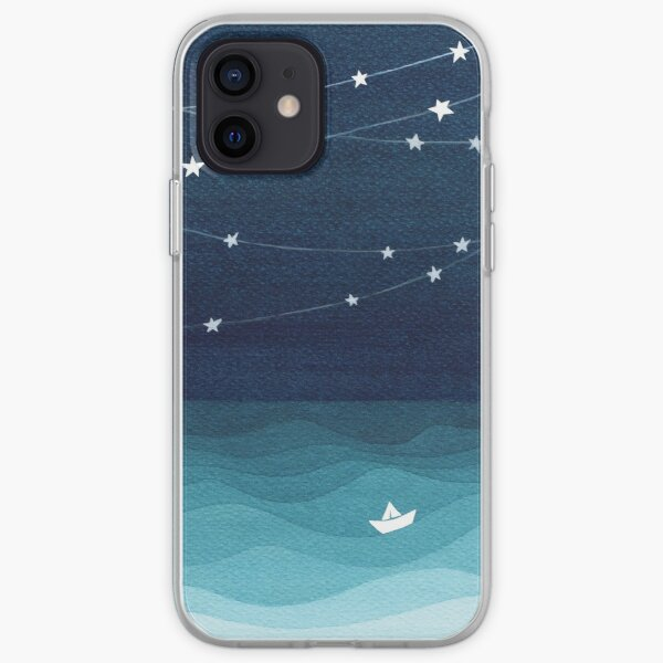 Garland of stars, teal ocean iPhone Soft Case