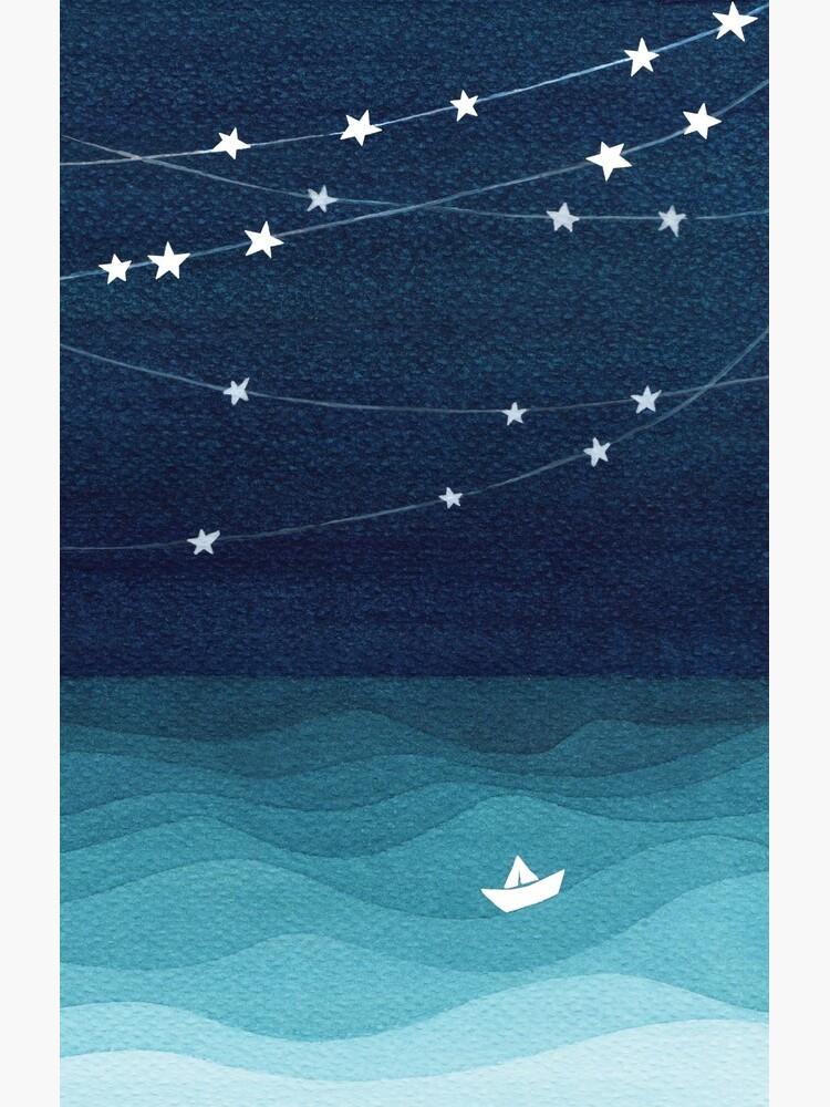 Garland of stars, teal ocean by VApinx