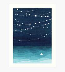 Garland of stars, teal ocean Art Print