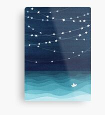 Garland of stars, teal ocean Metal Print